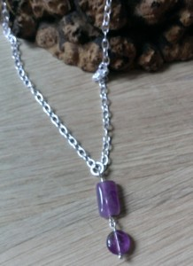 handcrafted pendant lilac stones with silver plated chain and catch