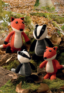 knitted toys - fox and badger west calder